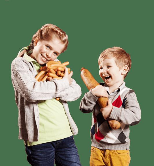 Kinder mit MAGO-Wurst